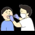 歯科検診を受けている男性のイラスト