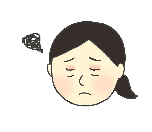 目が腫れている女性のイラスト