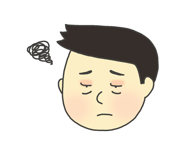 目が腫れている男性のイラスト