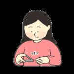 手の爪を切る女性のイラスト