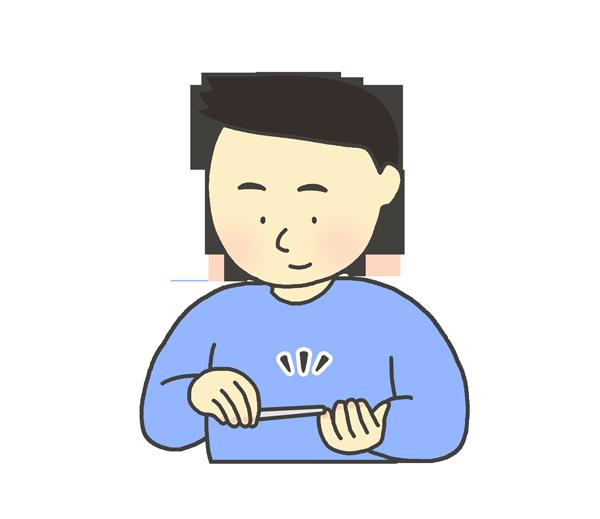 爪やすりをかける男性のイラスト