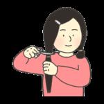 ヘアドネーションをする女性のイラスト