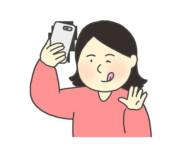 自撮りをする女性のイラスト