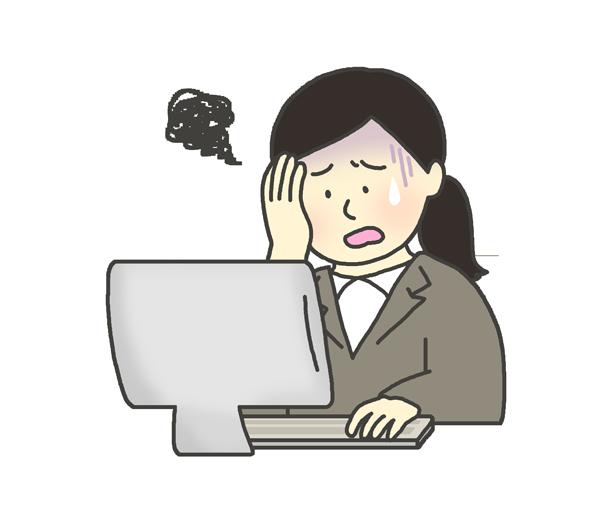 パソコンに向かって頭を抱える女性のイラスト(スーツ姿・会社員)