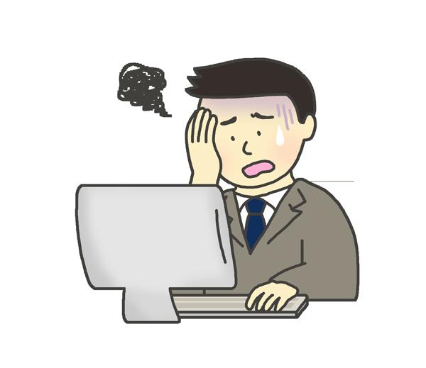 パソコンの前で頭を抱える男性のイラスト(スーツ・会社員)