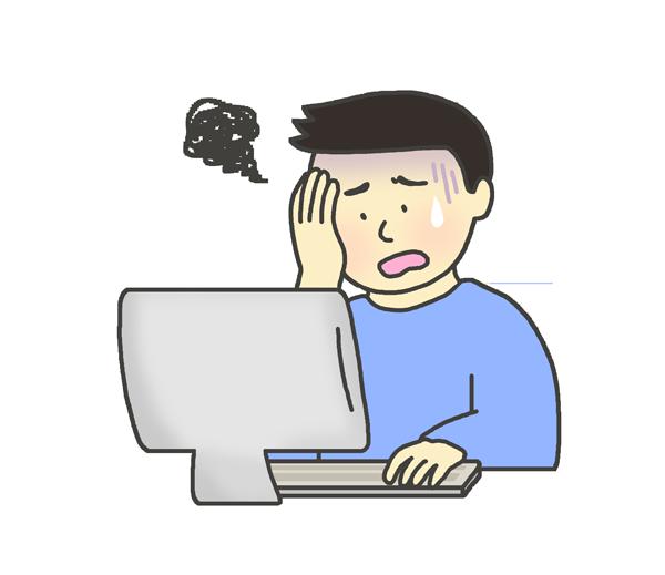 パソコンに向かって頭を抱える男性のイラスト(私服)