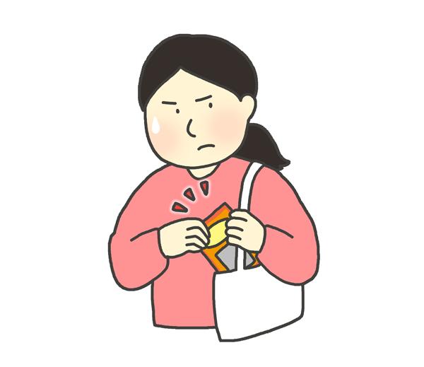 万引きする女性のイラスト