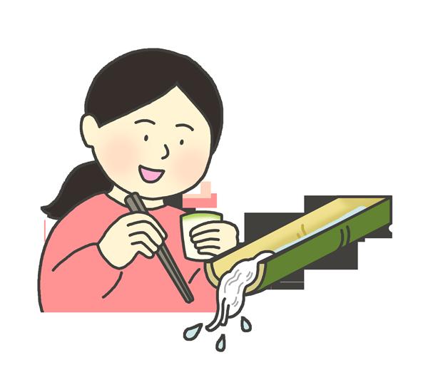 流しそうめんを食べる女性のイラスト