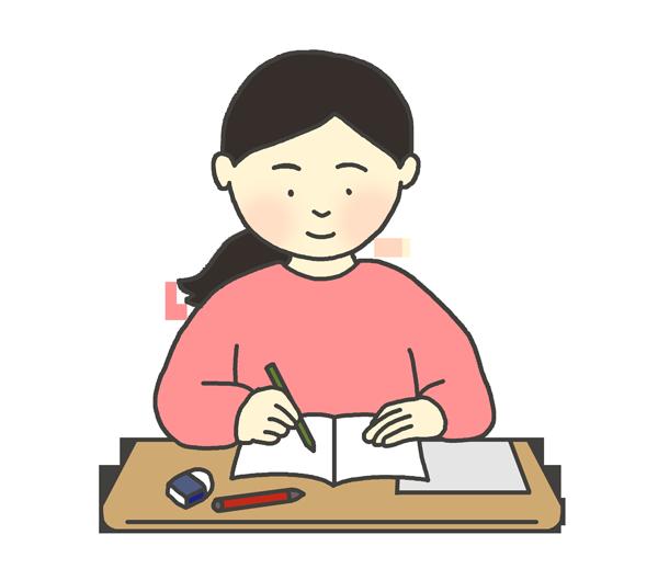 勉強する女性のイラスト