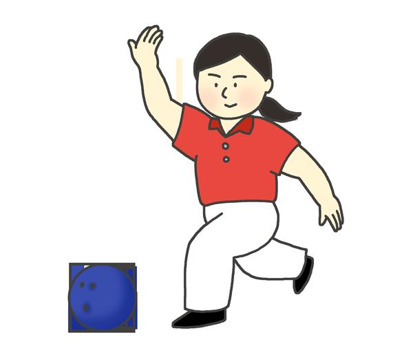 ボーリングをしている女性のイラスト
