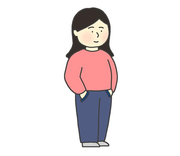 ポケットに手を突っ込んでいる女性のイラスト