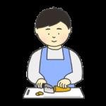 料理をする男性のイラスト