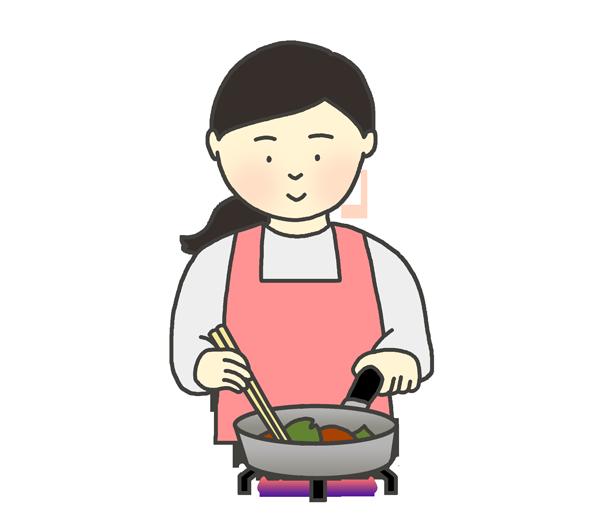 料理をする女性のイラスト