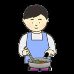 料理をしている男性のイラスト