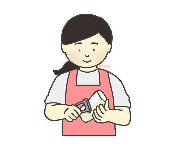 野菜の皮むきをする女性のイラスト