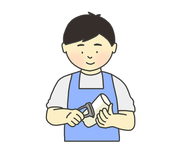 野菜の皮むきをする男性のイラスト
