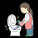 トイレ掃除をする女性のイラスト