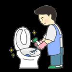 トイレ掃除をする男性のイラスト