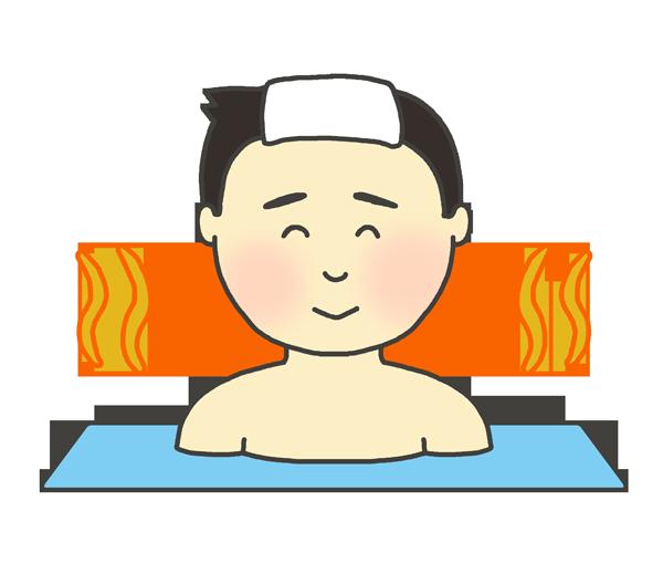 お風呂に入っている男性のイラスト