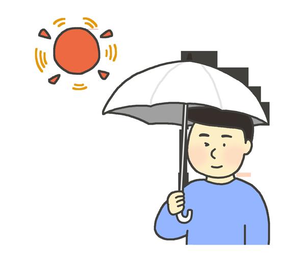 日傘をさす男性のイラスト