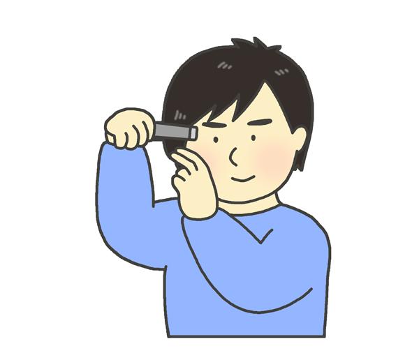 ヘアーアイロンをかける男性のイラスト