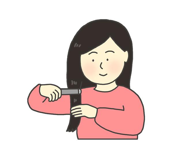 ヘアーアイロンをかける女性のイラスト