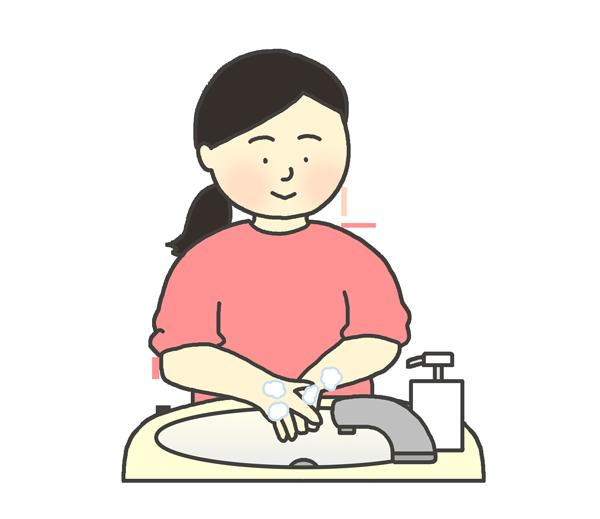 手洗いをする女性のイラスト