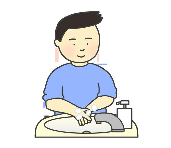 手洗いをする男性のイラスト
