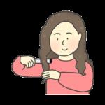 ヘアアイロン(コテ)を使って髪の毛をカールする女性のイラスト