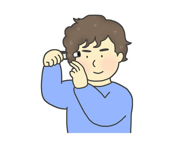 ヘアアイロン(コテ)で髪を巻く男性のイラスト