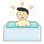 お風呂でのぼせる男性のイラスト