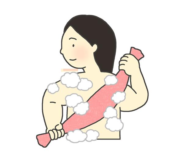 身体を洗う女性のイラスト