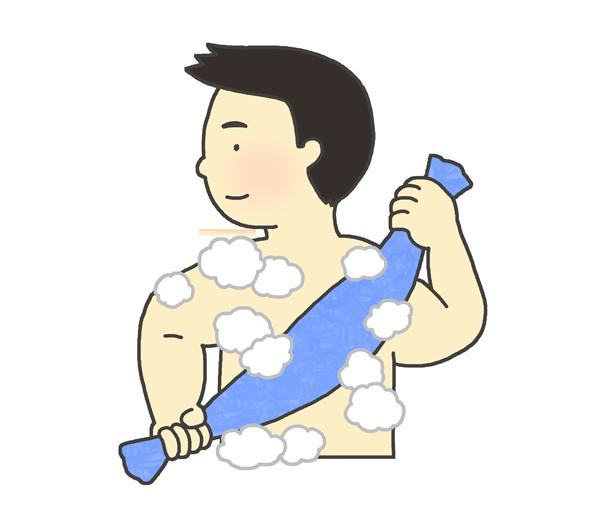 身体を洗う男性のイラスト