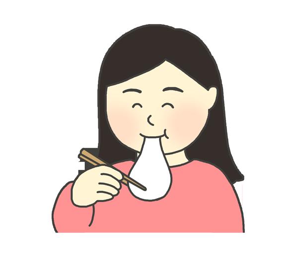 お餅を食べている女性のイラスト