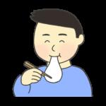 お餅を食べている男性のイラスト