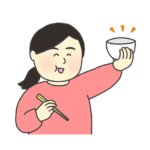 おかわり!のイラスト(女性)