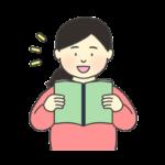 音読をする女性のイラスト