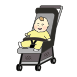 ベビーカーにのった赤ちゃんのイラスト