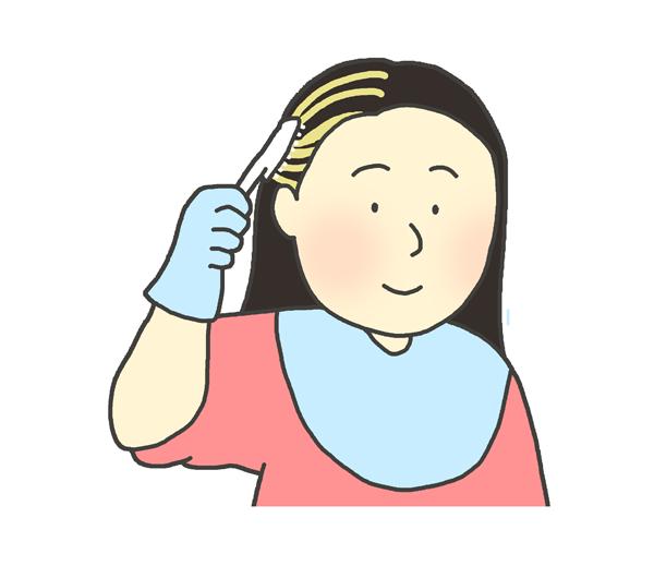 ヘアカラーをする女性のイラスト