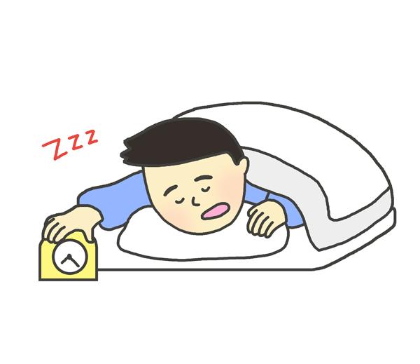 二度寝のイラスト(男性)