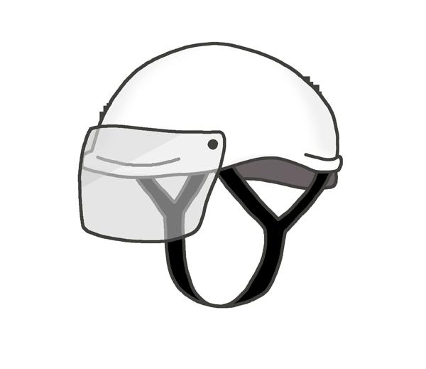 バイク用のハーフヘルメットのイラスト