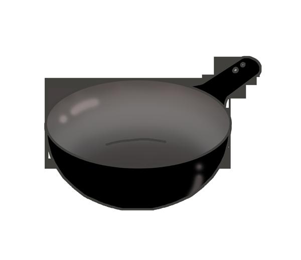 片手中華鍋のイラスト