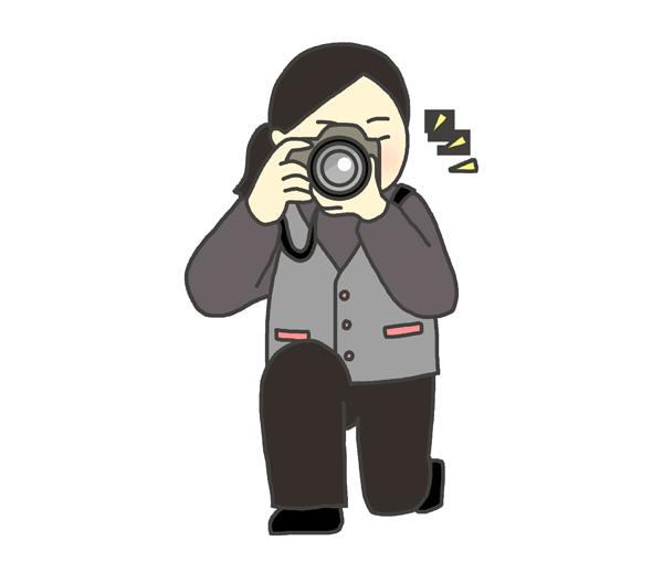 カメラマンの女性のイラスト