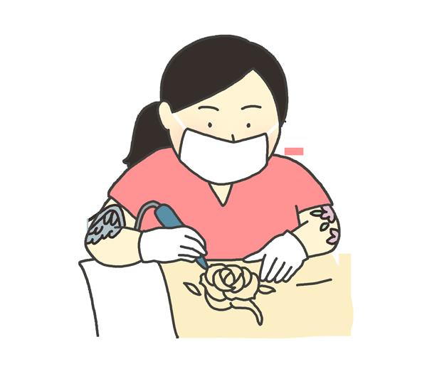 刺青師のイラスト(女性)