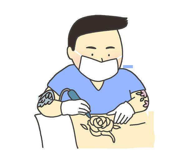 刺青師のイラスト(男性)