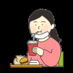 マスクを耳にかけて食事をする女性のイラスト