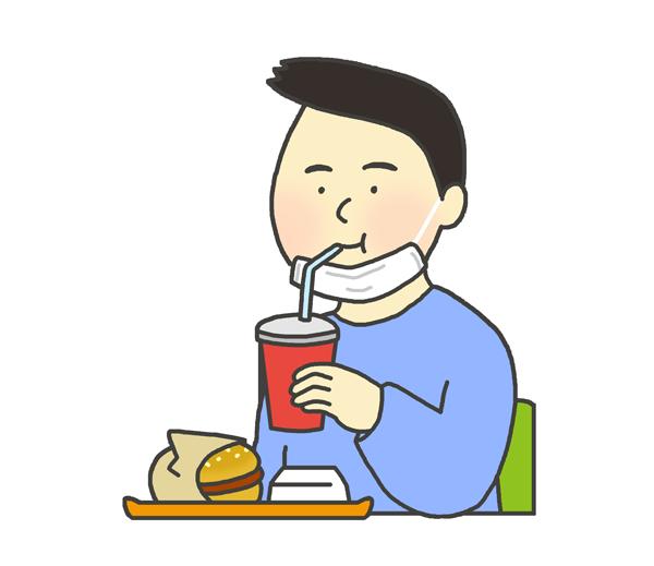 マスクを耳にかけて食事する男性のイラスト