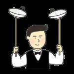 皿回しのイラスト(男性)