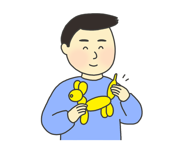 バルーンアートをつくる男性のイラスト