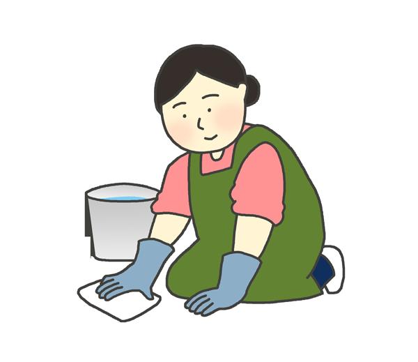 雑巾がけをする女性のイラスト